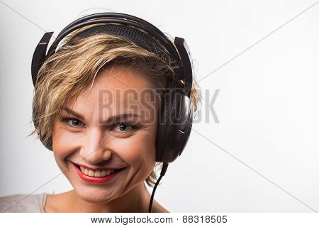 Blonde in headphones
