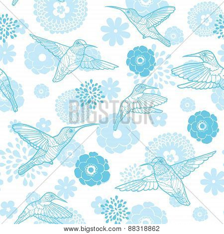 Vector blue hummingbirds and flowers lineart seamless pattern background