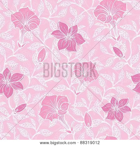 Vector soft pink lineart blossoms seamless pattern background