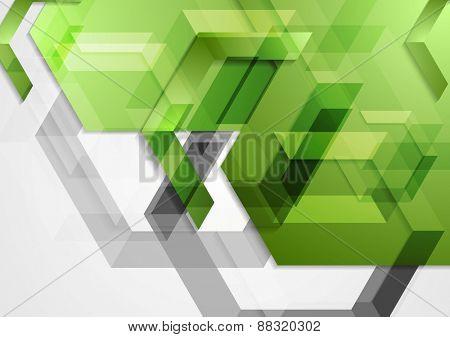 Green shiny hi-tech geometric background. Vector design