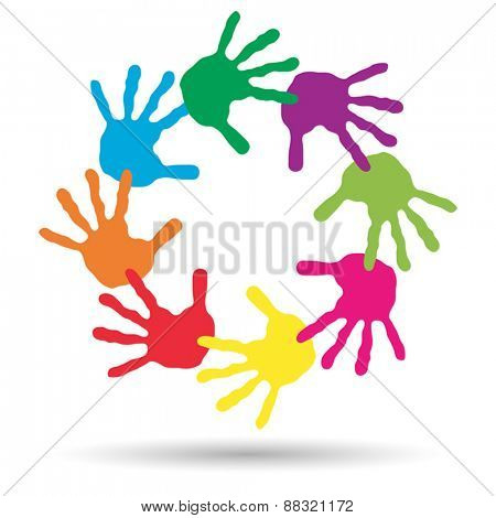 Vector concept or conceptual circle or spiral set made of colorful handprints
