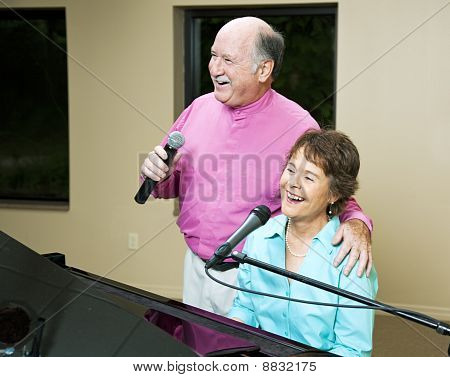 Senior Couple Singing Together