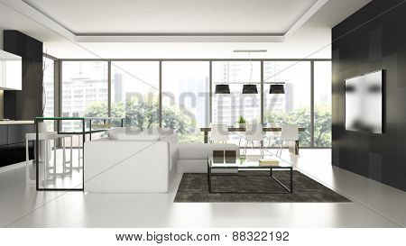 Interior of the modern design  loft  with white floor 3D rendering