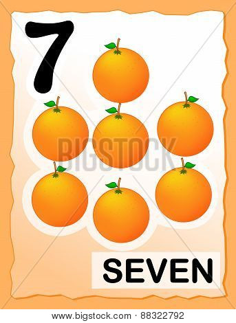 Number 7 Kids Learning Card