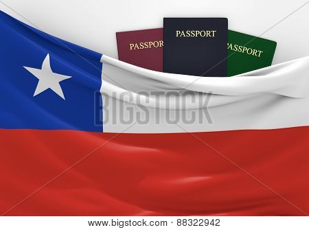 Travel and tourism in Chile, with assorted passports