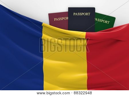 Travel and tourism in Romania, with assorted passports