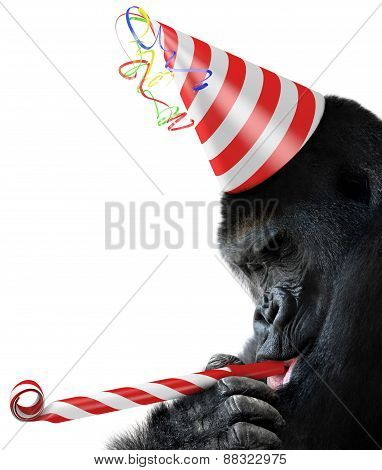 Gorilla party animal with a striped birthday hat and noisemaker horn