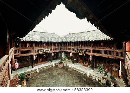 Local Bai style courtyard in Dali old town. Yunnan, China.