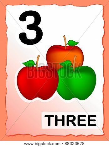 Number 3 Kids Learning Card