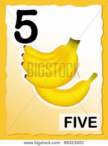 Number 5 Kids Learning Card
