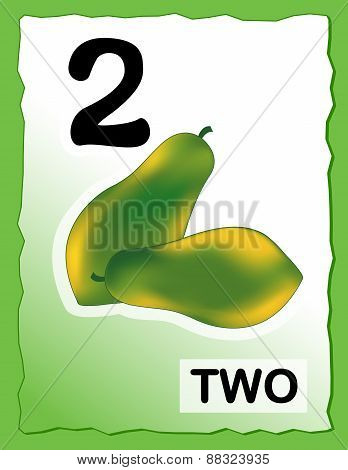 Number 2 Kids Learning Card