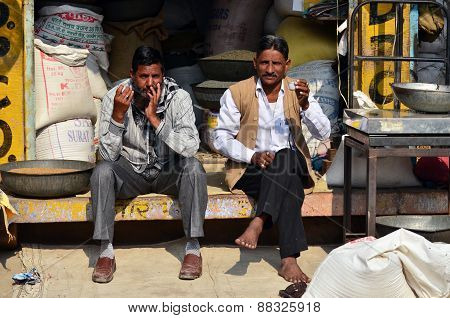 Jodhpur, India - January 1, 2015: Unidentified Indian Men In The Market