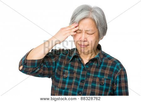 Senior woman suffer from headache