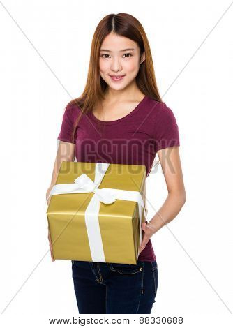 Young lady show wtih big gift