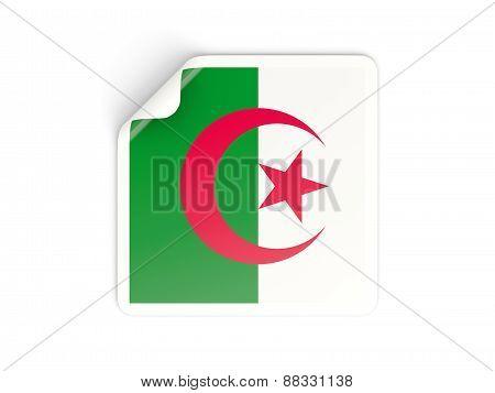 Square Sticker With Flag Of Algeria