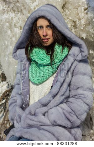 Winter Portrait Of A Girl In A Fur Coat