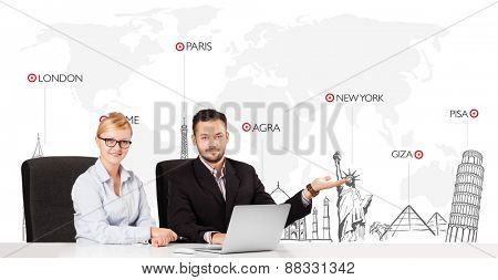 Young businessman and businesswoman with world map and major landmarks of the world