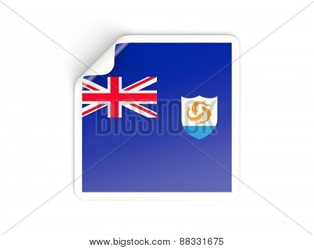 Square Sticker With Flag Of Anguilla