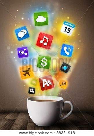 Coffee mug with colorful media icons, close up