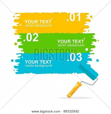 Vector colorful rollerbrushes background for text