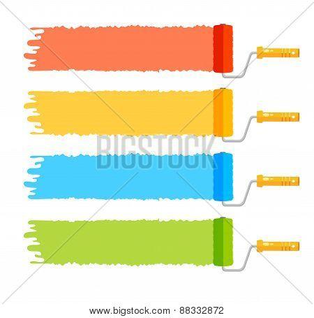 Vector rollerbrushes set