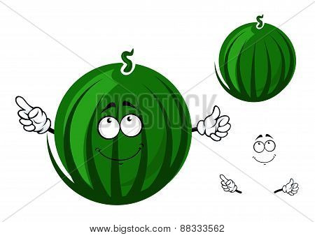 Cute cartoon striped green watermelon character