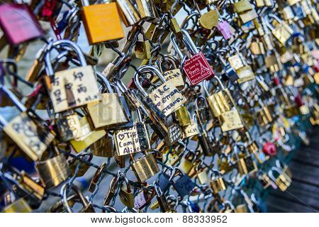 PARIS - January 1: Locks on Paris bridge near Seine river on January 1, 2015 in Paris, France.