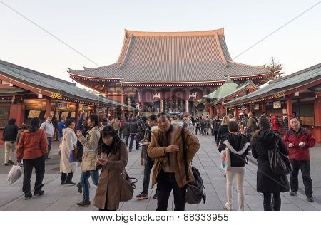 People Around Senjoji Temple In Tokyo, Japan
