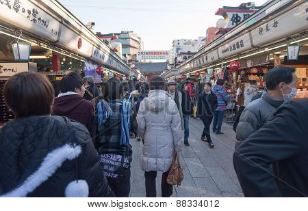 Many  Tourist People Visit  Around Souvenir Shop Near Senjoji Temple In Tokyo, Japan