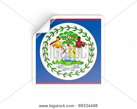 Square Sticker With Flag Of Belize