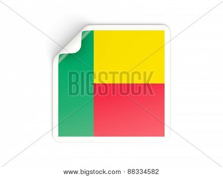 Square Sticker With Flag Of Benin