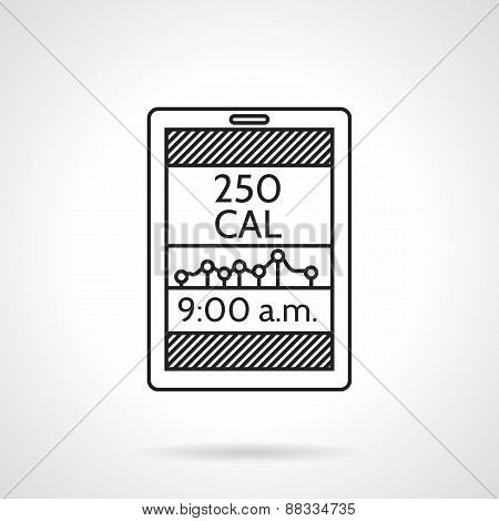 Calories counter black line vector icon