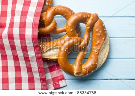 baked pretzels on kitchen table