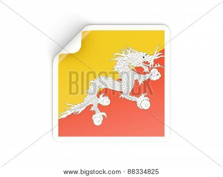 Square Sticker With Flag Of Bhutan
