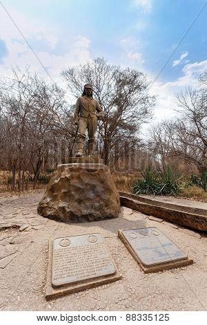 Statue Of David Livingstone In The Victoria Falls
