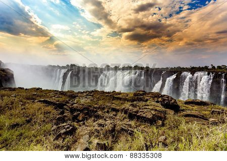 The Victoria Falls With Dramatic Sky Hdr Effect