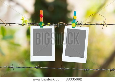 Photo Frames On Barbed Wire With Colored Clothespins