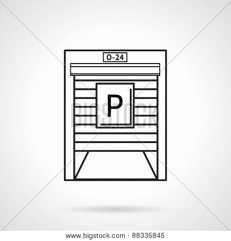 Parking garage black line vector icon