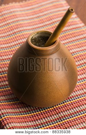 Calabash And Bombilla With Yerba Mate