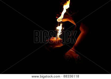 Fire Eater Breather Fearless Flame Woman Show
