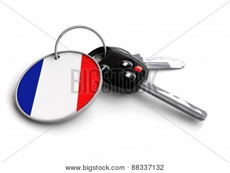 Car keys with French flag on keyring