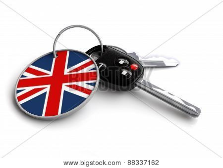 Car keys with United Kingdom flag on keyring
