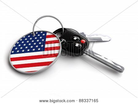 Car keys with US flag on keyring