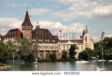 Budapest, Hungary - June 27, 2015: Vajdahunyad Castle View From Lakeside. Budapest, Hungary,  June 2