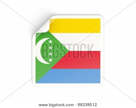 Square Sticker With Flag Of Comoros