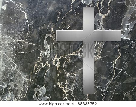 black marble plate with cross