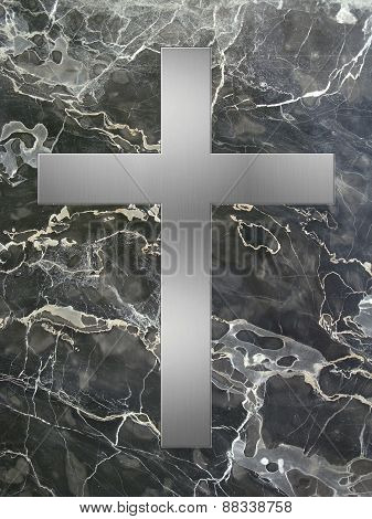 silver cross and black marble