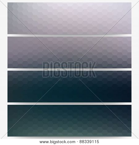 Abstract hexagonal headers set, blurred design vector