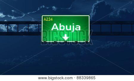 Abuja Nigeria Highway Road Sign At Night
