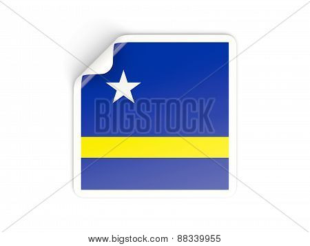 Square Sticker With Flag Of Curacao